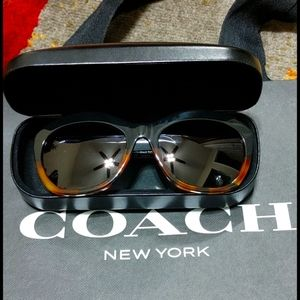 Coach Sunglasses Polarized Black Tortoise Gold